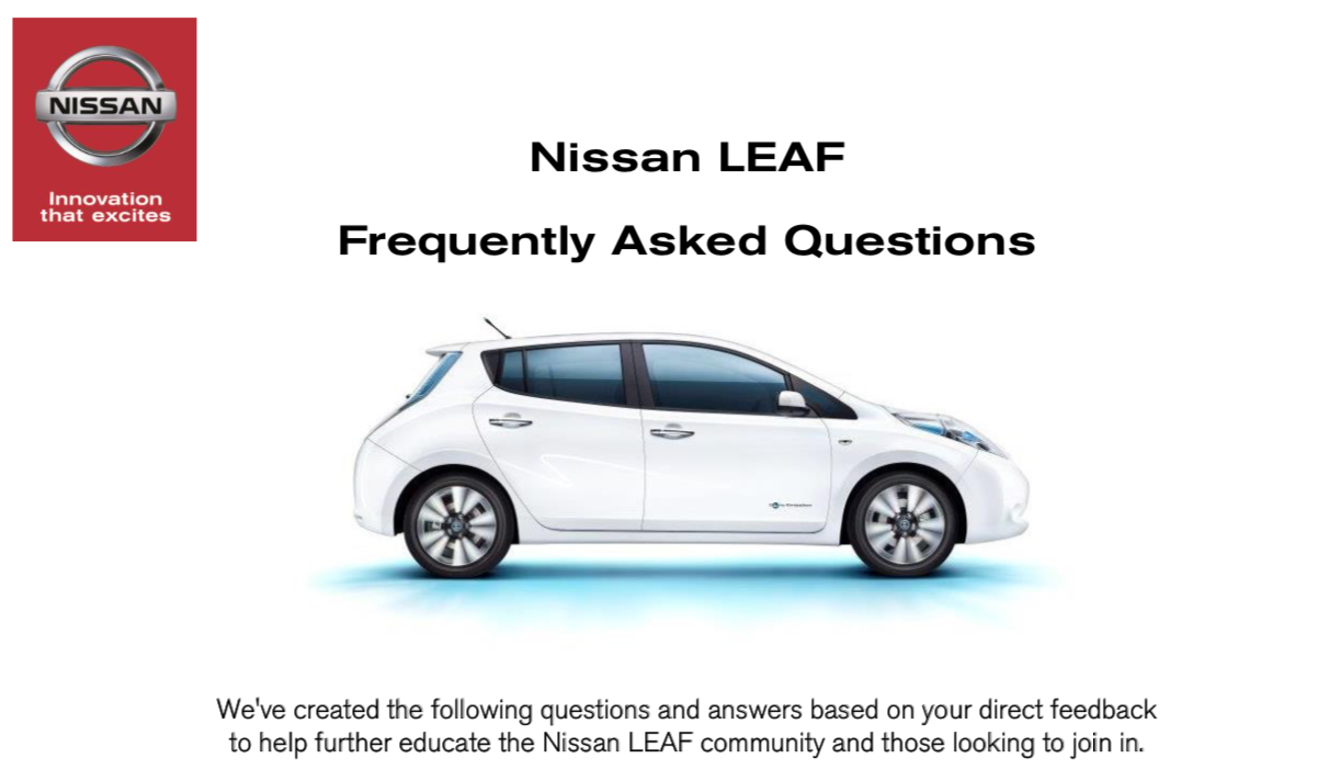 Nissan LEAF Frequently Asked Questions